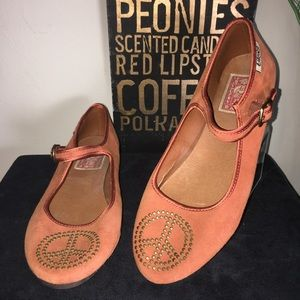 Lucky Brand suede studded ankle strap flats